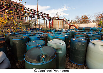barrel containing much hazardous waste in a firm
