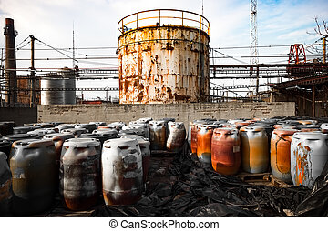 toxic barrels - barrel containing much hazardous waste in a...
