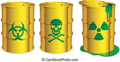 Toxic barrels. - Three yellow barrels with warning signs and...