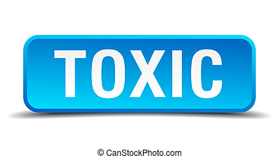 Toxic blue 3d realistic square isolated button