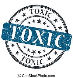 Toxic blue grunge round stamp on white background