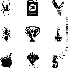 Toxic chemical icons set, simple style