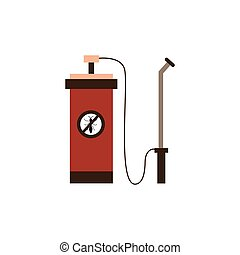 Toxic chemicals sprayer cartoon icon or symbol of equipment for pest and insects extermination and prevention, flat vector illustration isolated on white background.