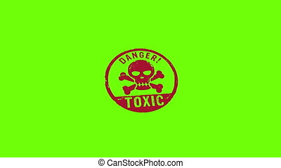 Toxic danger with skull stamp and stamping isolated animation