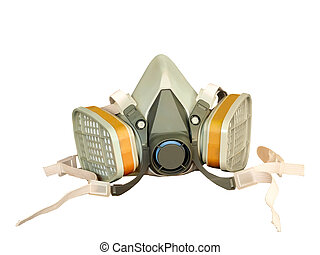 Toxic dust respirator isolated on white background.