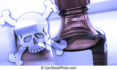 bottle with toxical fluid and dangerous skull