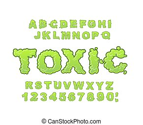 Toxic font. Green liquid ABC. Acid typography. Radiation...