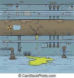 Toxic Leak - Green toxic waste leaks from a cartoon pipe in...