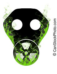 Toxic Mask and smoke - Illustration of a gas mask with the...