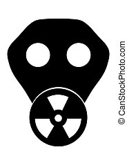 Toxic Mask - Black and white illustration of a gas mask with...