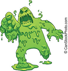Toxic monster melting. Vector clip art illustration with simple gradients. All in a single layer.