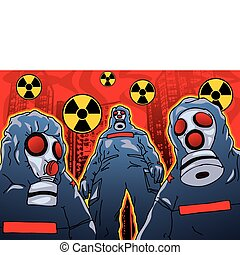Toxic People - Toxic chemical people illustration.