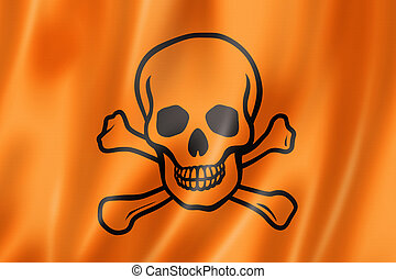 toxic poison skull flag, three dimensional render, satin ...