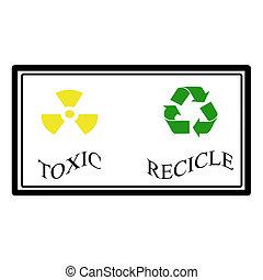 Toxic, recicle label, vector illustration