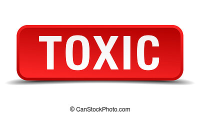 Toxic red 3d square button isolated on white