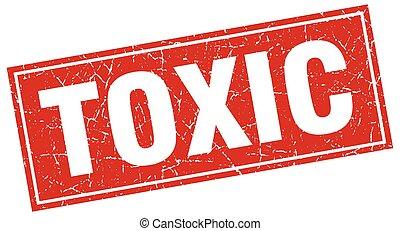 toxic red square grunge stamp on white