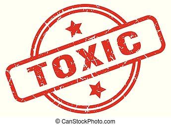 toxic round grunge isolated stamp