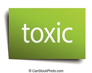 toxic square paper sign isolated on white