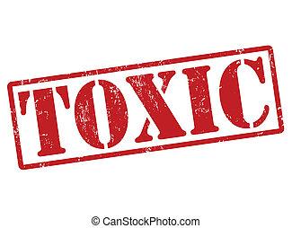 Toxic grunge rubber stamp on white, vector illustration