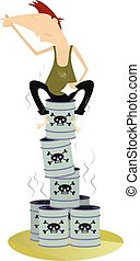 Toxic substance - Man sitting on the barrels with toxic...
