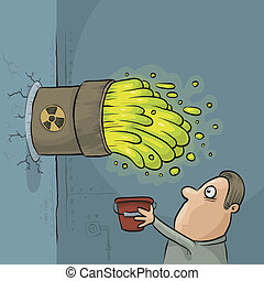 Toxic Waste Accident - A cartoon man discovers that his...