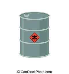 Toxic waste barrel. Radioactive industry garbage emissions....