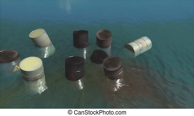 Toxic waste barrels floating on water