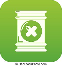 Toxic waste container icon green vector