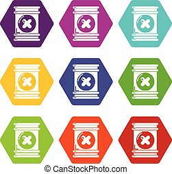 Toxic waste container icons set 9 vector