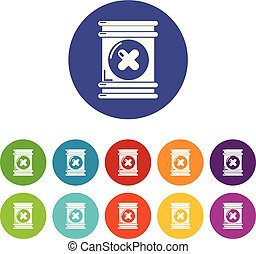 Toxic waste container icons set vector color