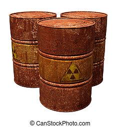 Toxic Waste Drums - Isolated illustration of three hazardous...
