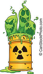 Toxic waste barrel. Vector clip art illustration with simple...