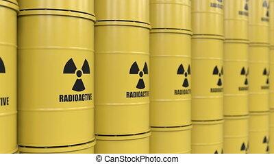 Toxic waste - Yellows barrels containing radioactive...