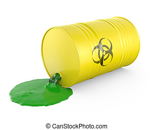 Toxic waste spilling from barrel, isolated on white ...