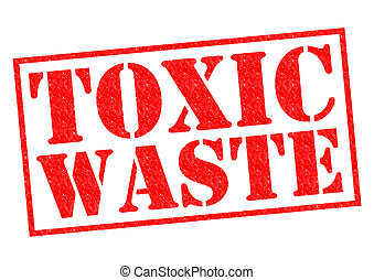 TOXIC WASTE red Rubber Stamp over a white background.