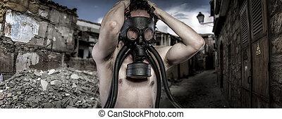 toxic.environmental, disaster., poste, apocalíptico, sobrevivente, em, máscara gás