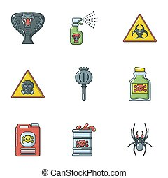 Toxin icons set, cartoon style