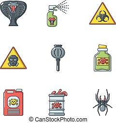 Toxin icons set, cartoon style - Toxin icons set. Cartoon...