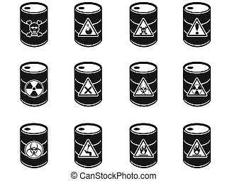 toxique, barils, déchets dangereux, icône