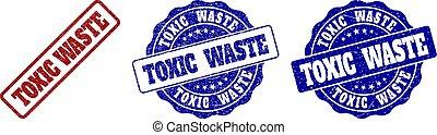 toxique, gratté, gaspillage, timbre, cachets