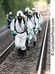 toxique, produits chimiques, acides, urgence, équipe
