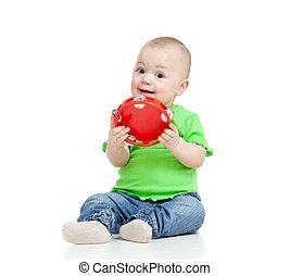 toy., 隔離された, 遊び, 背景, 赤ん坊, 白, ミュージカル