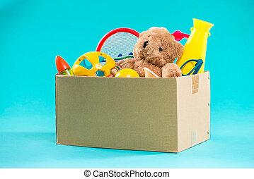 toy., 기부금 상자, 와, 불필요한, 항목, 치고는, 가난한 자