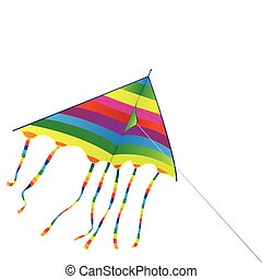 Toy a bright kite on a background of the blue sky - Isolated