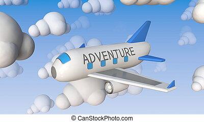 Toy airliner with ADVENTURE text flies between cloud mockups...
