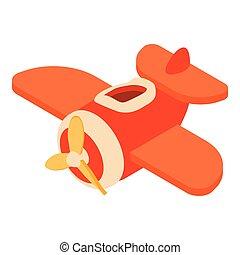 Toy airplane icon, cartoon style