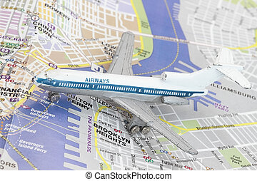 Toy Airplane on map of New York