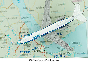 Toy Airplane on Map of northeast Africa