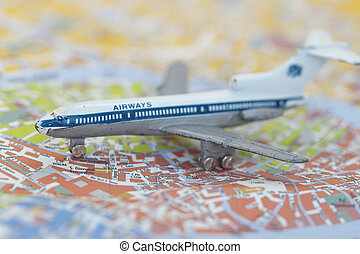 Toy Airplane on map of Venice