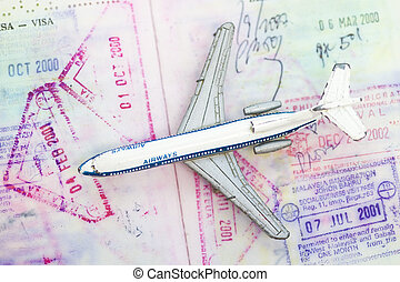 Toy airplane with stamp in the passport